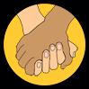 Illustration två sammanflätade händer