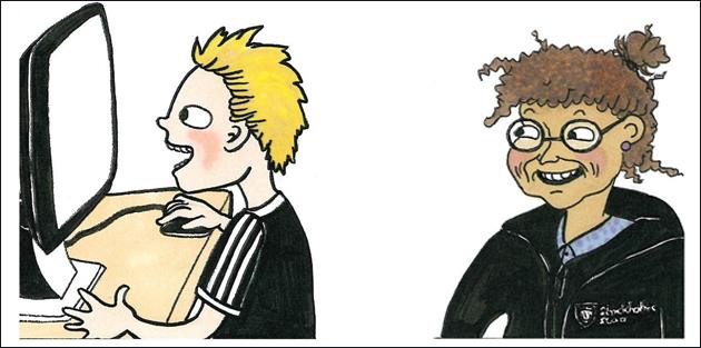 Två tecknade personer.