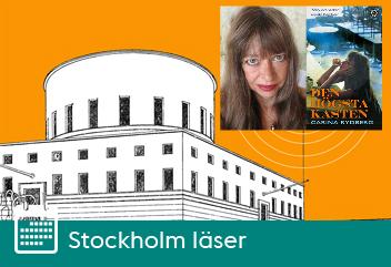 Bilbliotekspodden Solens logotyp och porträtt på Carina Rydberg